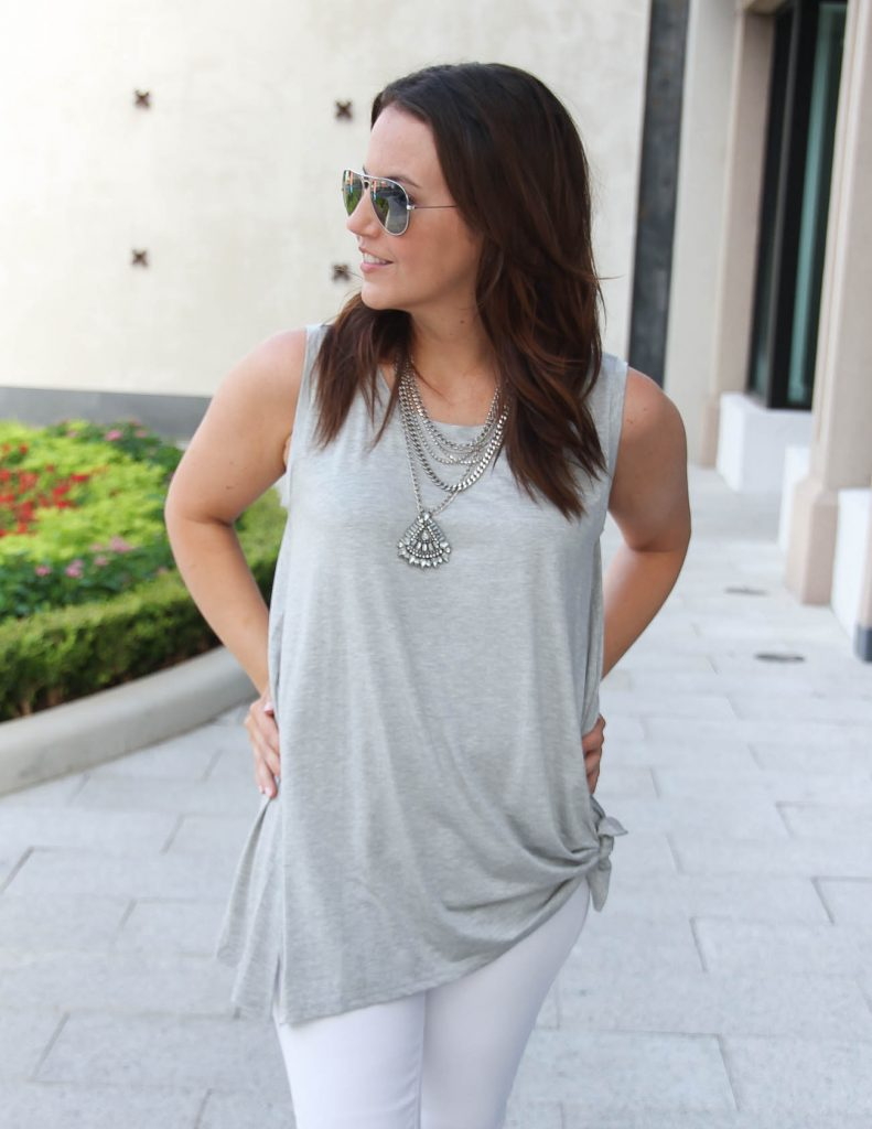 Summer Date Night Outfit | Statement Necklace | Gray Tank Top | Lady in Violet | Houston Fashion Blogger