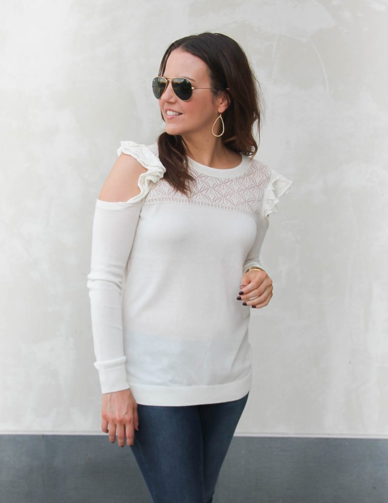 Winter Outfit | Ivory Open Shoulder Sweater | Lady in Violet | Houston Style Blogger