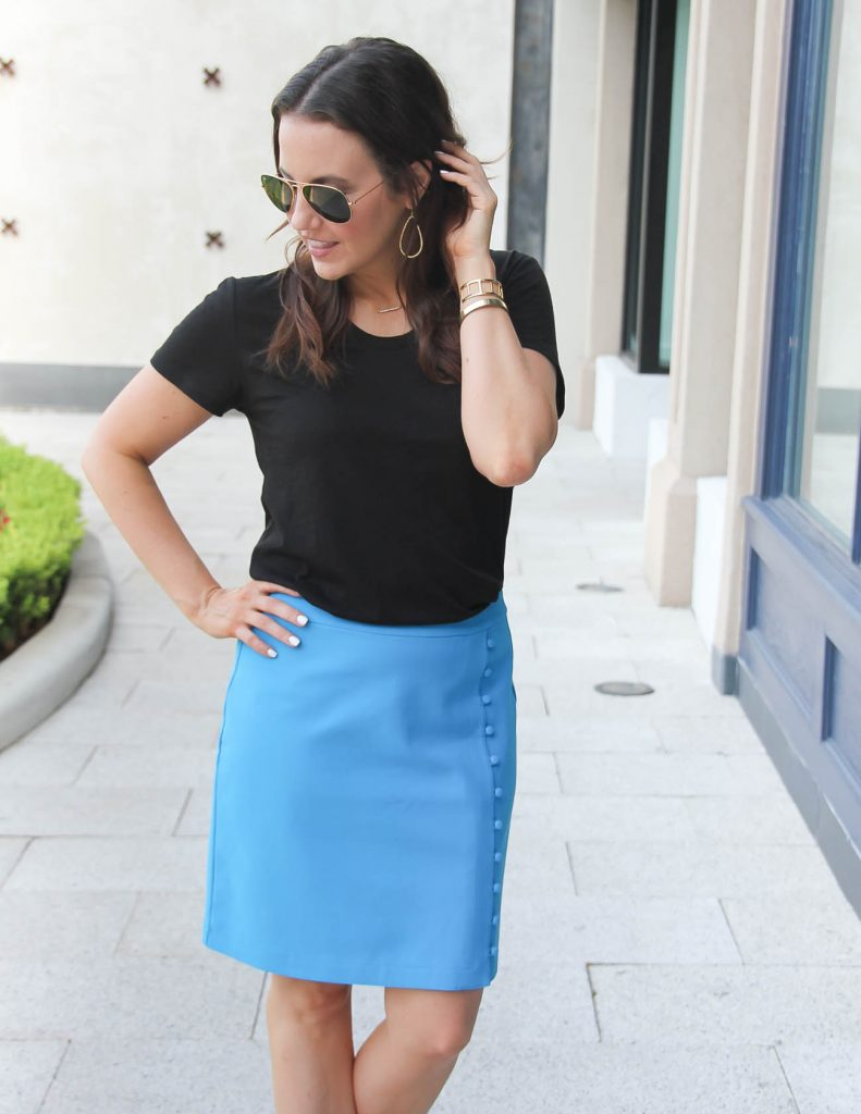 Work Wear | Black Tshirt | Blue Pencil Skirt | Lady in Violet | Houston Fashion Blogger