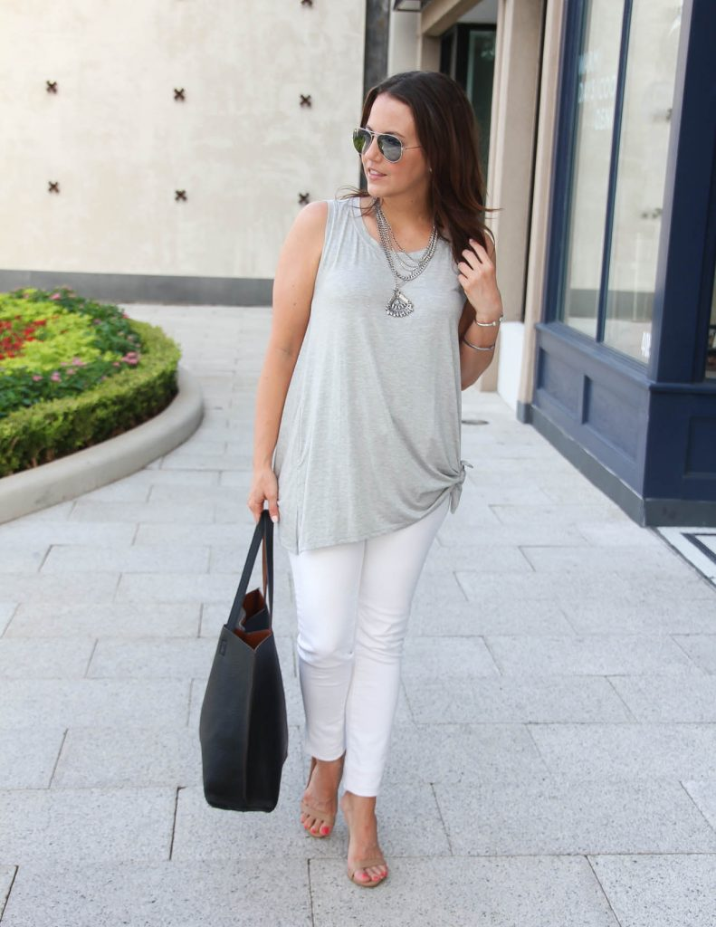 Chic Summer Outfit | White Skinny Jeans | Gray Front Tie Tank Top | Lady in Violet | Houston Style Blogger