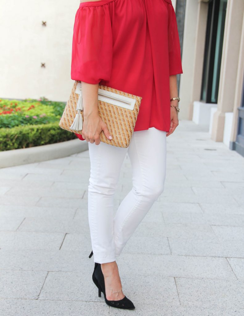 Date Night Outfit | Red Chiffon Blouse | White Skinny Jeans | Lady in Violet | Houston Fashion Blogger