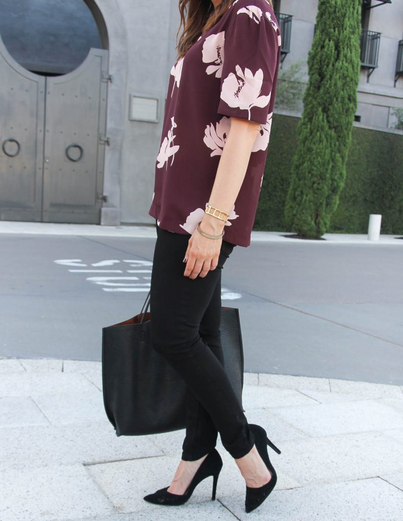 Fall Outfit | Black Skinny Jeans | Floral Blouse | Lady in Violet | Houston Fashion Blogger