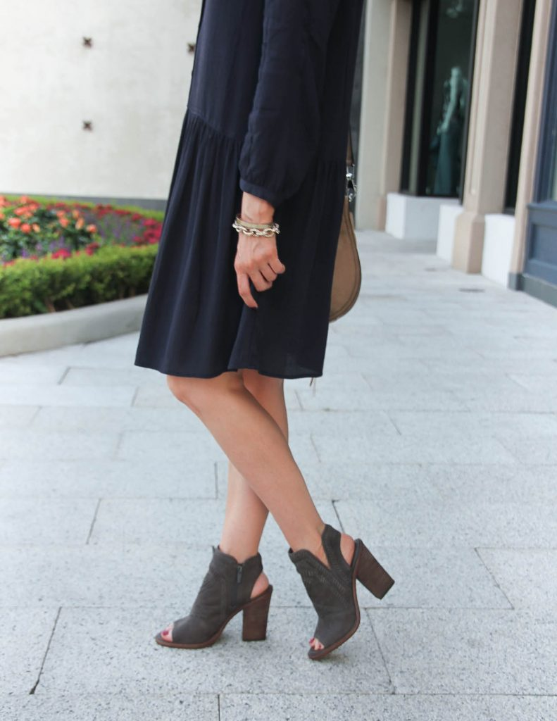 Fall Outfit | Navy Dress | Peep Toe Booties | Lady in Violet | Houston Style Blogger