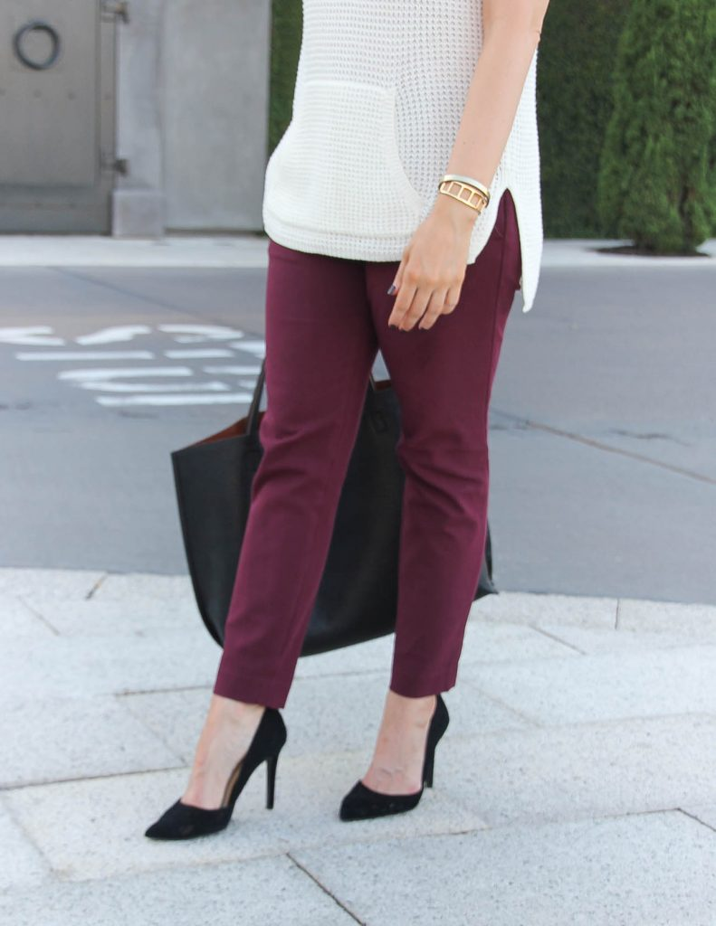 Loft Essential Skinny Pants | Fall Work Outfit | Black D'orsay Heels | Lady in Violet | Houston Fashion Blogger