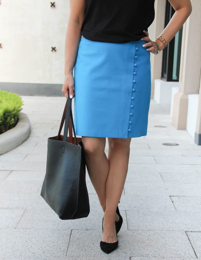 Work Outfit | Button Pencil Skirt | Black d'Orsay Heels | Lady in Violet | Houston Fashion Blogger