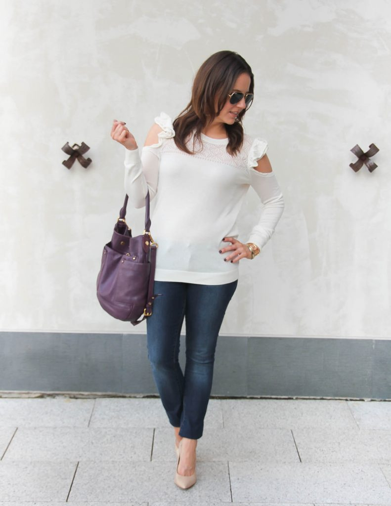 Casual Winter Outfit | Ivory Sweater | Skinny jeans | Lady in Violet | Houston Fashion Blogger