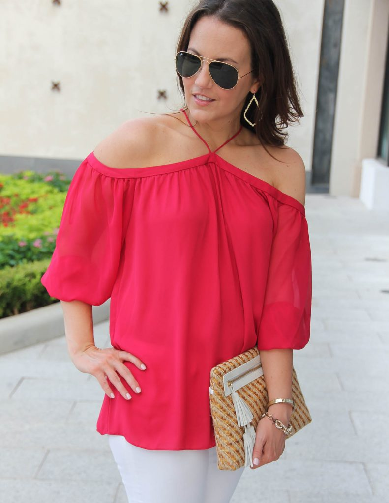 Red Off the Shoulder Blouse | Straw Clutch | Date Night Outfit | Lady in Violet | Houston Style Blogger
