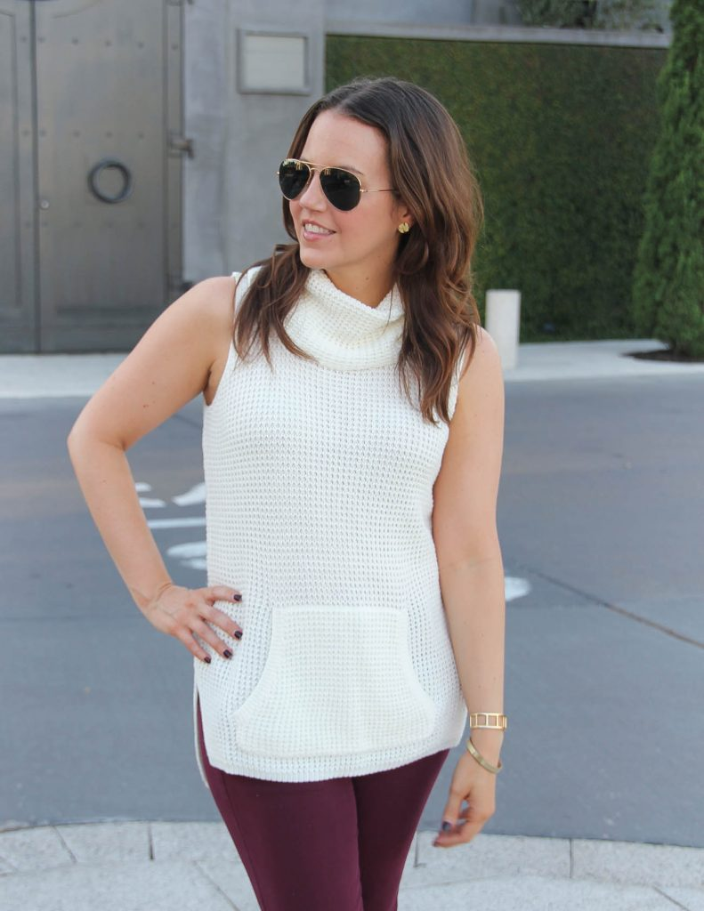 Summer Work Outfit | Ivory Sleeveless Sweater | Gorjana Gold Stud Earrings | Lady in Violet | Houston Fashion Blogger