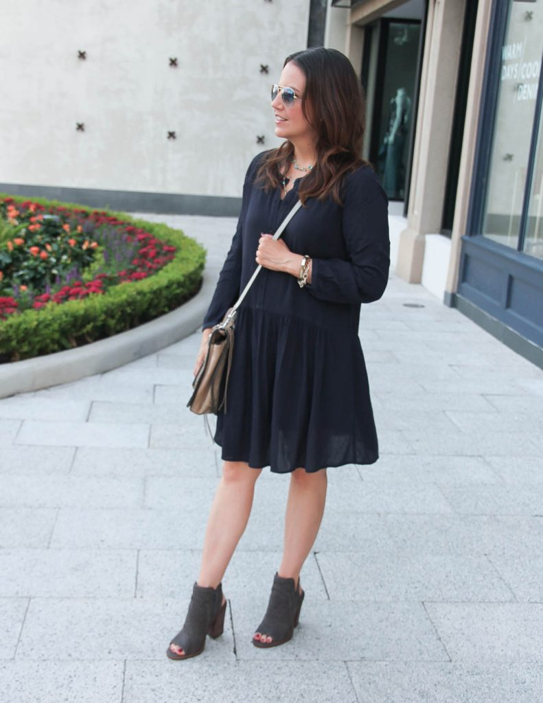 Casual Fall Outfit | Navy Shift Dress | Vince Camuto Peep Toe Booties | Lady in Violet | Houston Style Blogger