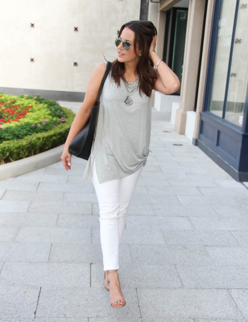 Chic Summer Outfit | Gray Side Tie Tank | White Skinny Jeans | Lady in Violet | Houston Fashion Blogger