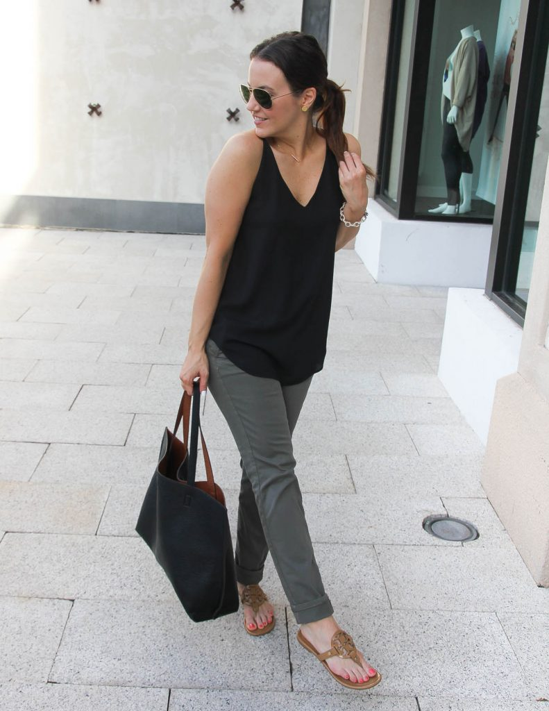 Easy Summer Outfit | Black Tank Top | Olive Pants | Lady in Violet | Houston Fashion Blogger