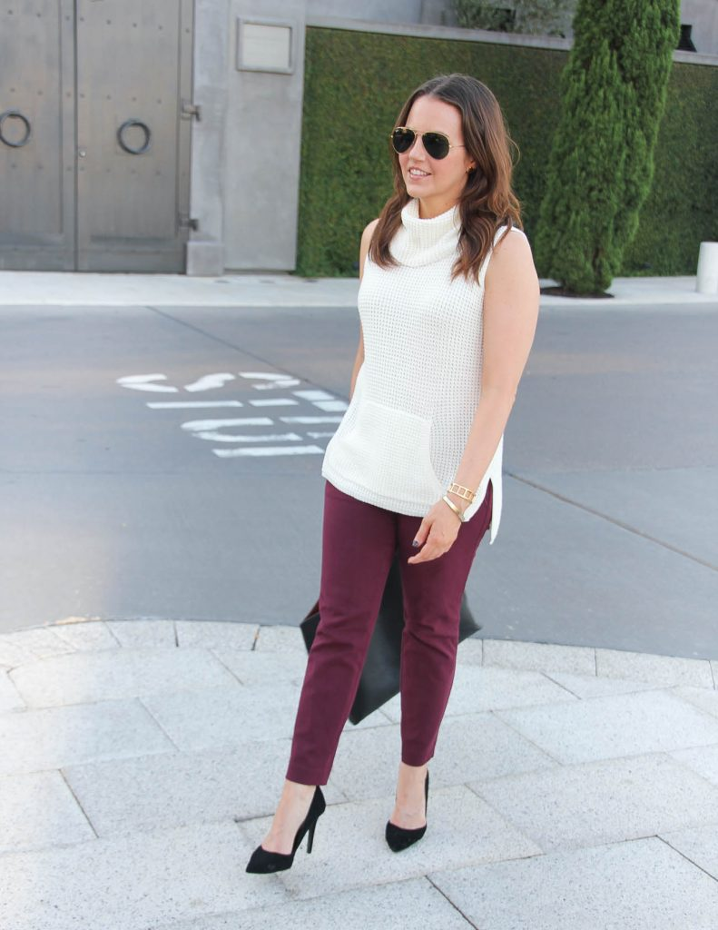 Fall Work Outfit | Ivory Sweater | Maroon Ankle Pants | Lady in Violet | Houston Fashion Blogger