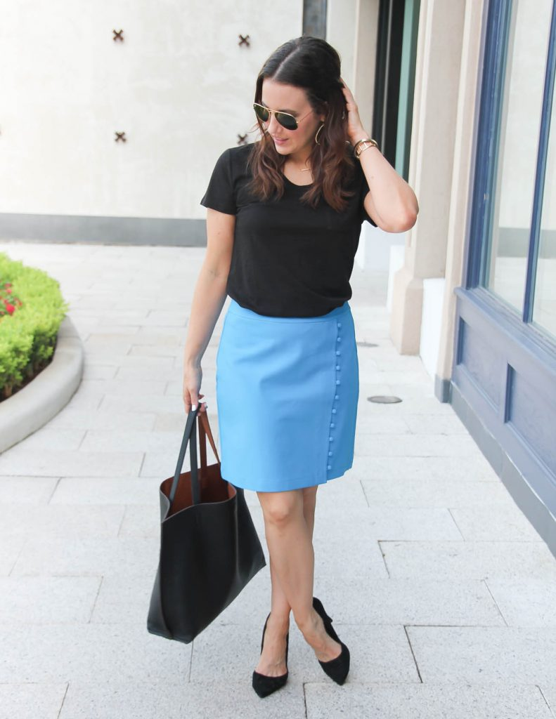Office Outfit | Black Tee | Blue Pencil Skirt | Lady in Violet | Houston Fashion Blogger