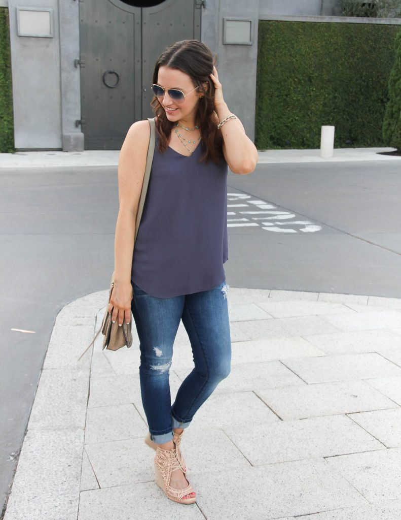 Summer Casual Outfit | Purple Tank Top | Distressed Jeans | Lady in Violet | Houston Fashion Blogger