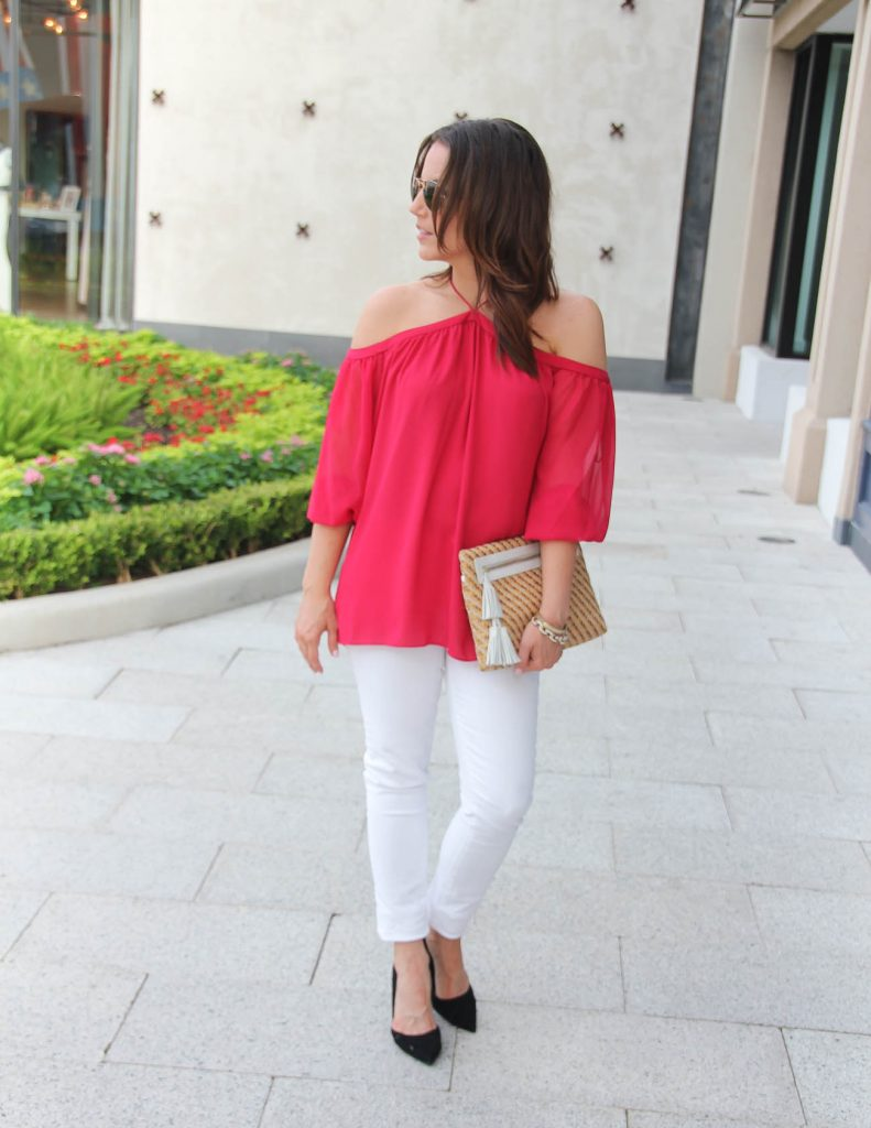 Summer Outfit | Red Cold Shoulder Top | White Jeans | Black Heels | Lady in Violet