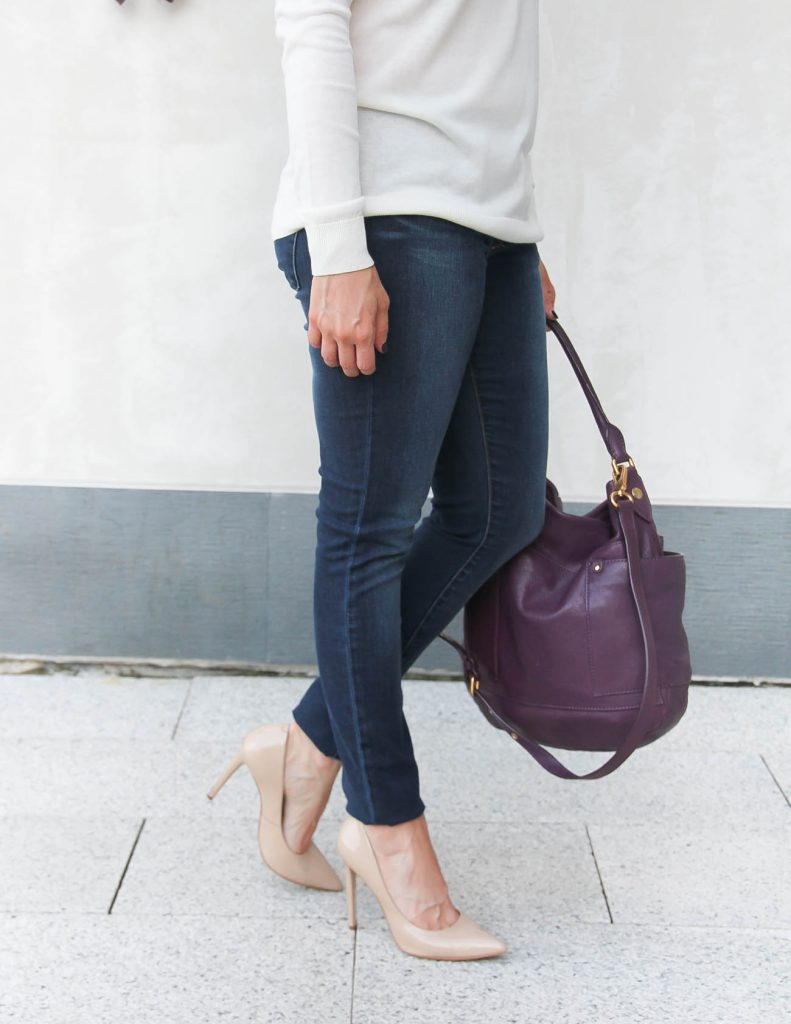 Articles of society jeans | Marc Jacobs Leather Preppy Hobo | Lady in Violet | Houston Style Blogger