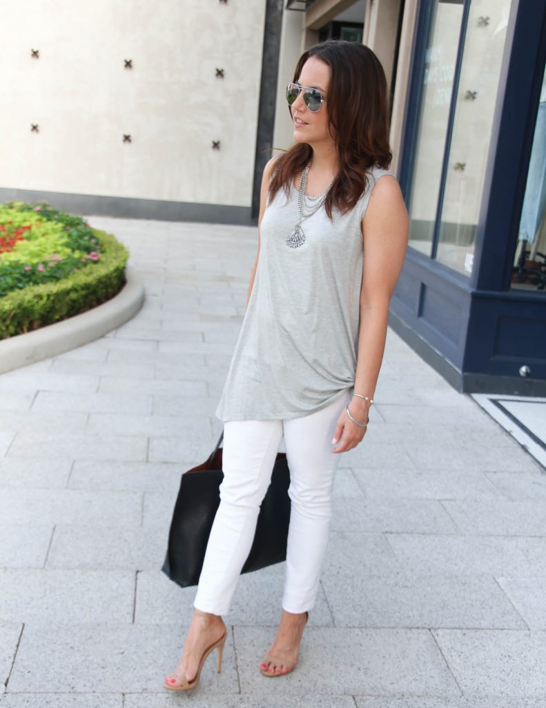 Casual Summer Outfit | Gray Tank Top | White Skinny Jeans | Lady in Violet | Houston Style Blogger