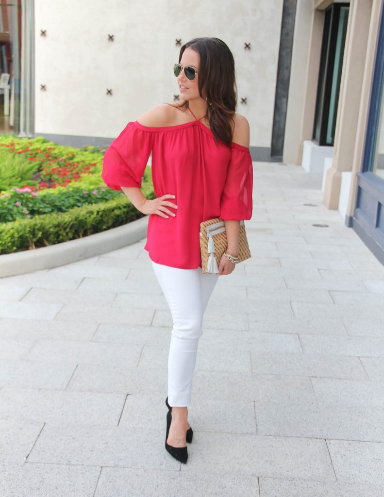 Date Night Outfit | Red Off the Shoulder Top | White Paige Jeans | Lady in Violet | Houston Fashion Blog