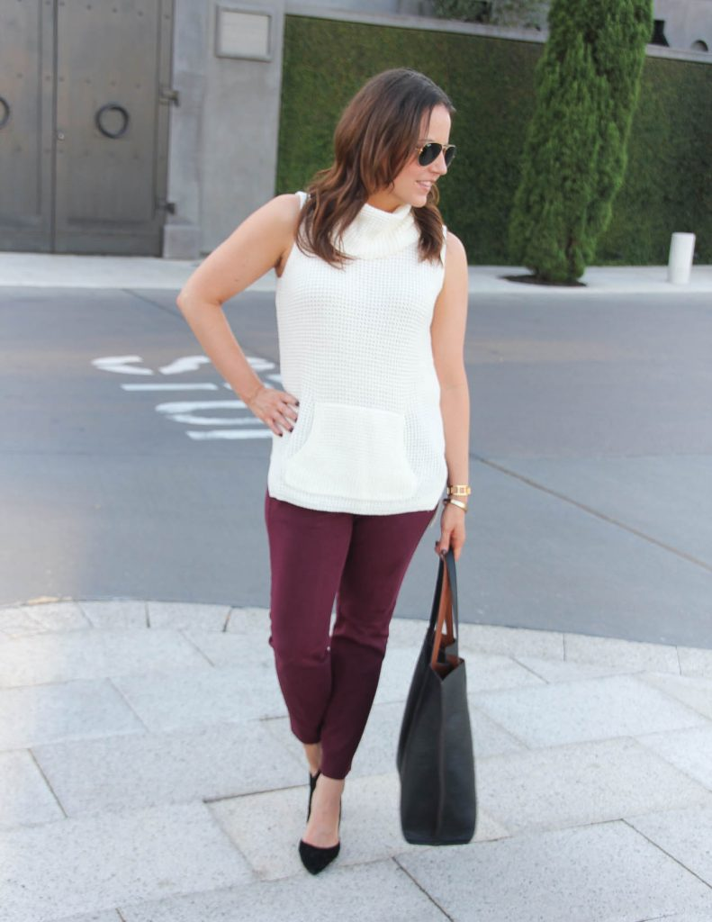 Office Outfit | Ivory Sleeveless Sweater | Burgundy Skinny Pants | Lady in Violet | Houston Fashion Blogger