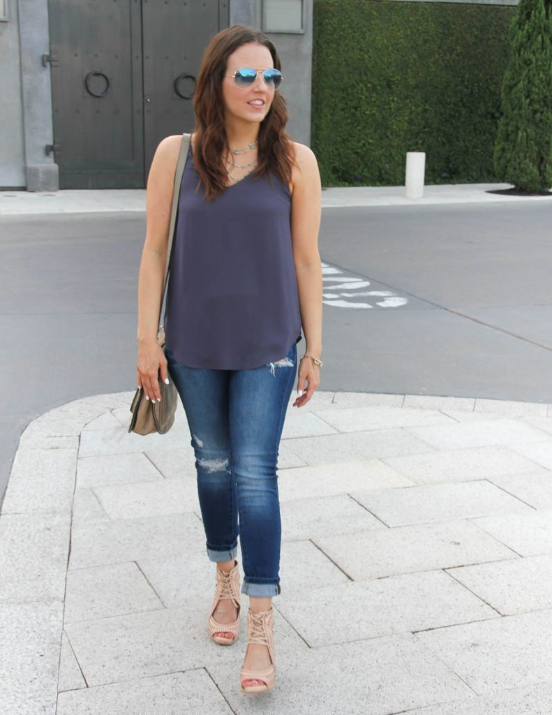 Summer Outfit | Purple Tank Top | Distressed Jeans | Wedge Sandals | Lady in Violet | Houston Fashion Blogger
