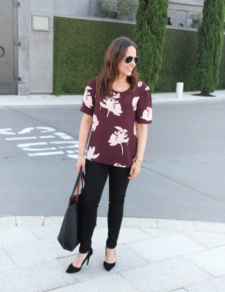 Work Outfit | Floral Blouse | Black Pants | Lady in Violet | Houston Style Blogger