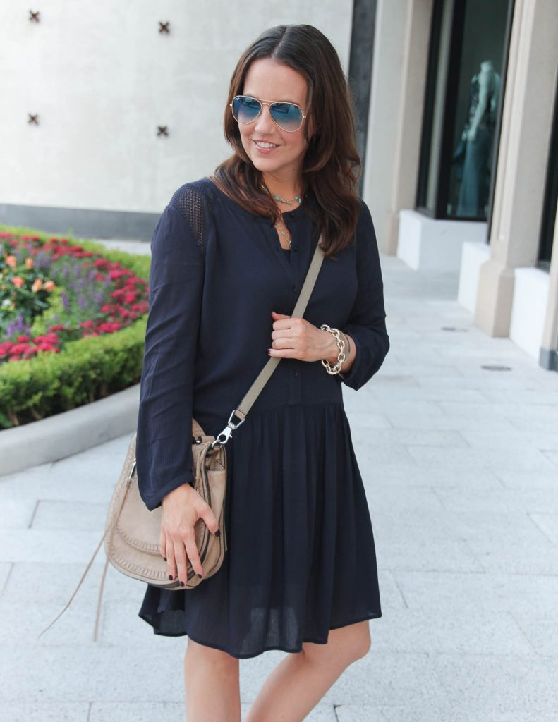 Fall Outfit | Navy Shift Dress | Rebecca Minkoff Saddle Bag | Lady in Violet | Houston Fashion Blogger