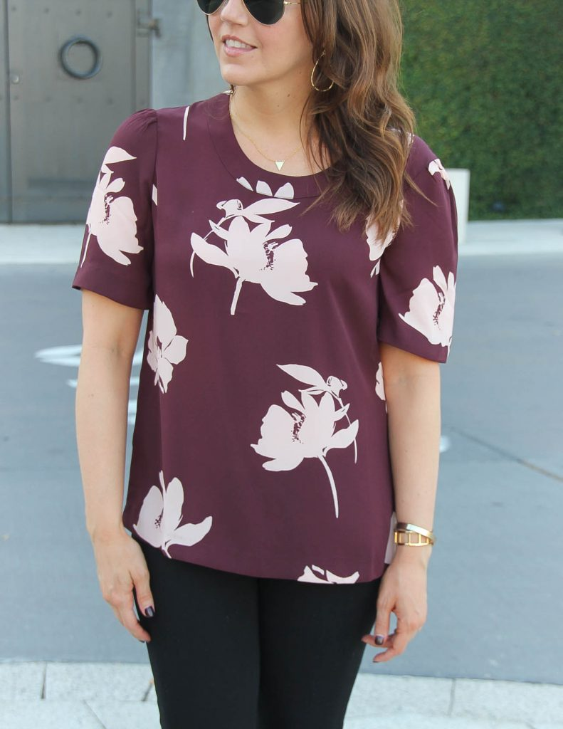 Nordstrom Floral Blouse | Short Gold Necklace | Lady in Violet | Houston Fashion Blogger