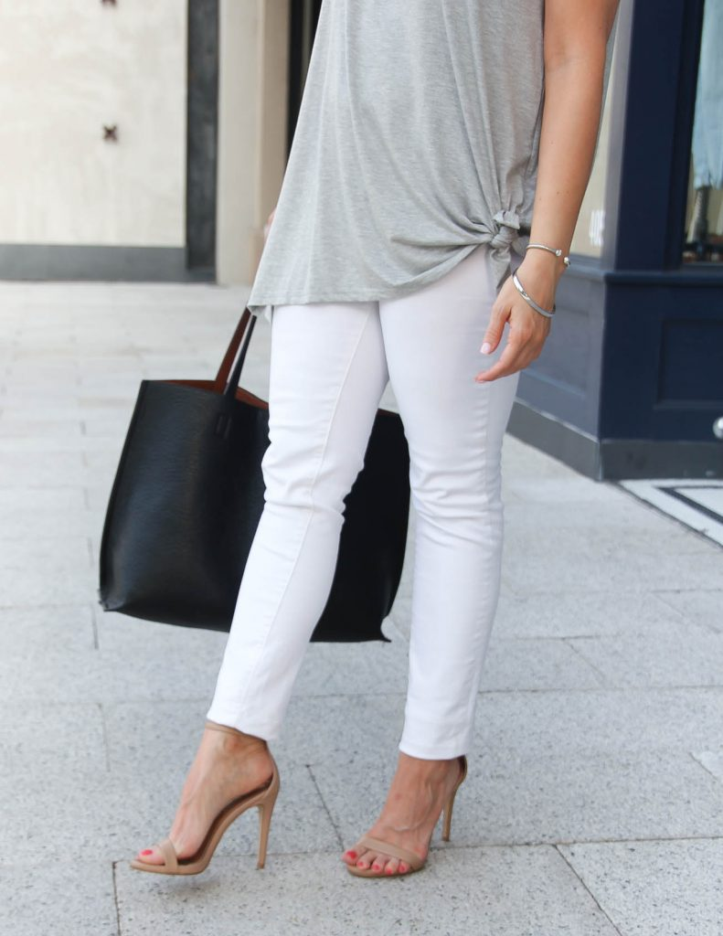 Summer Outfit | Nude Stecy Sandals | White Skinny Jeans | Lady in Violet | Houston Fashion Blogger