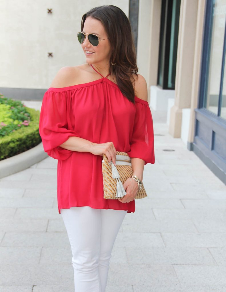 Summer Outfit | Red Off the Shoulder Top | Straw Clutch | Lady in Violet | Houston Style Blog