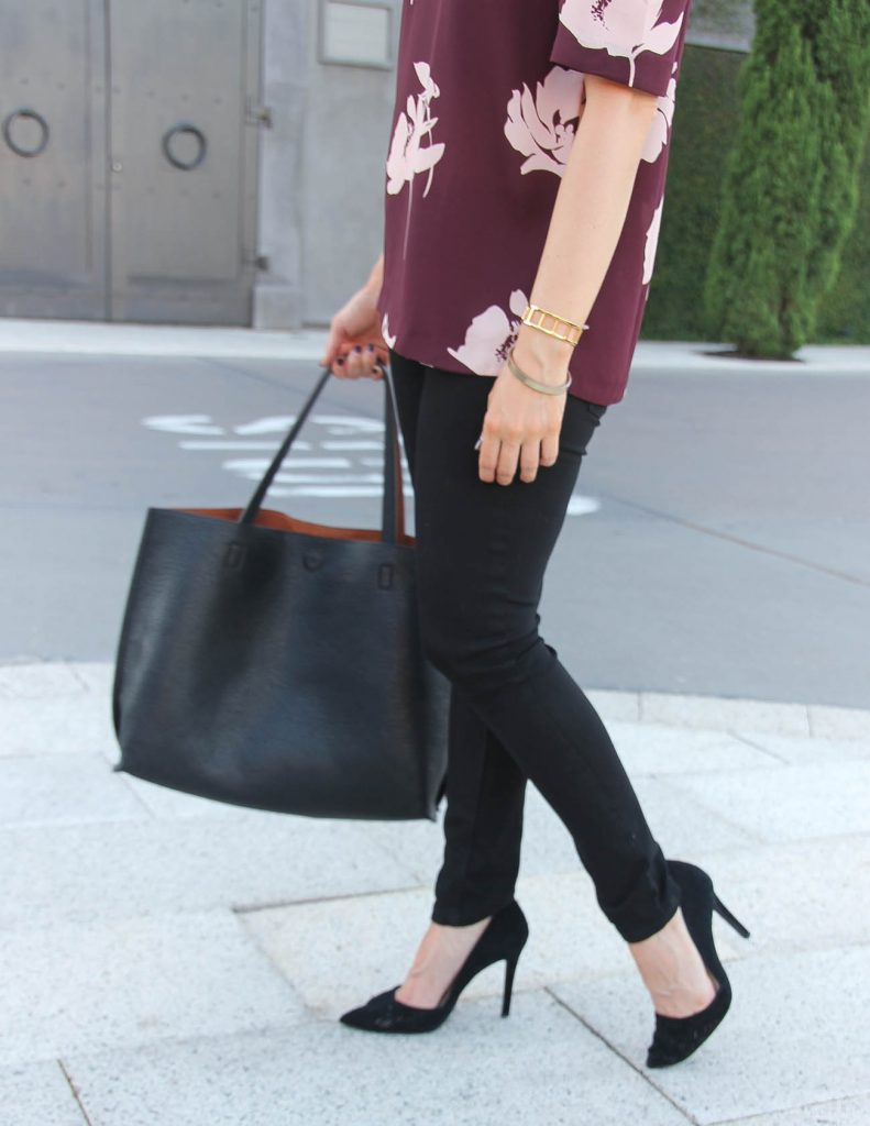 Black Skinny Jeans | Tote Bag | d'Orsay Heels for Work | Lady in Violet | Houston Style Blogger