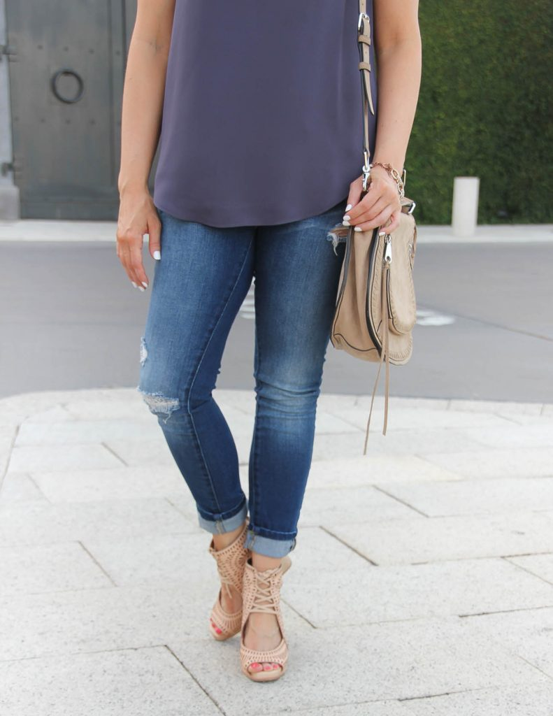 BlankNYC Distressed Jeans | Rebecca Minkoff Vanity Saddle Bag | Summer Outfit | Lady in Violet | Houston Fashion Blog