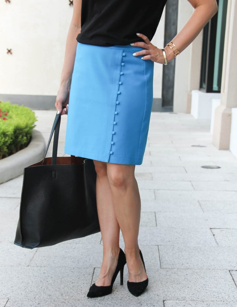 Blue Pencil Skirt | Black d'orsay heels | Work Outfit | Lady in Violet | Houston Style Blogger