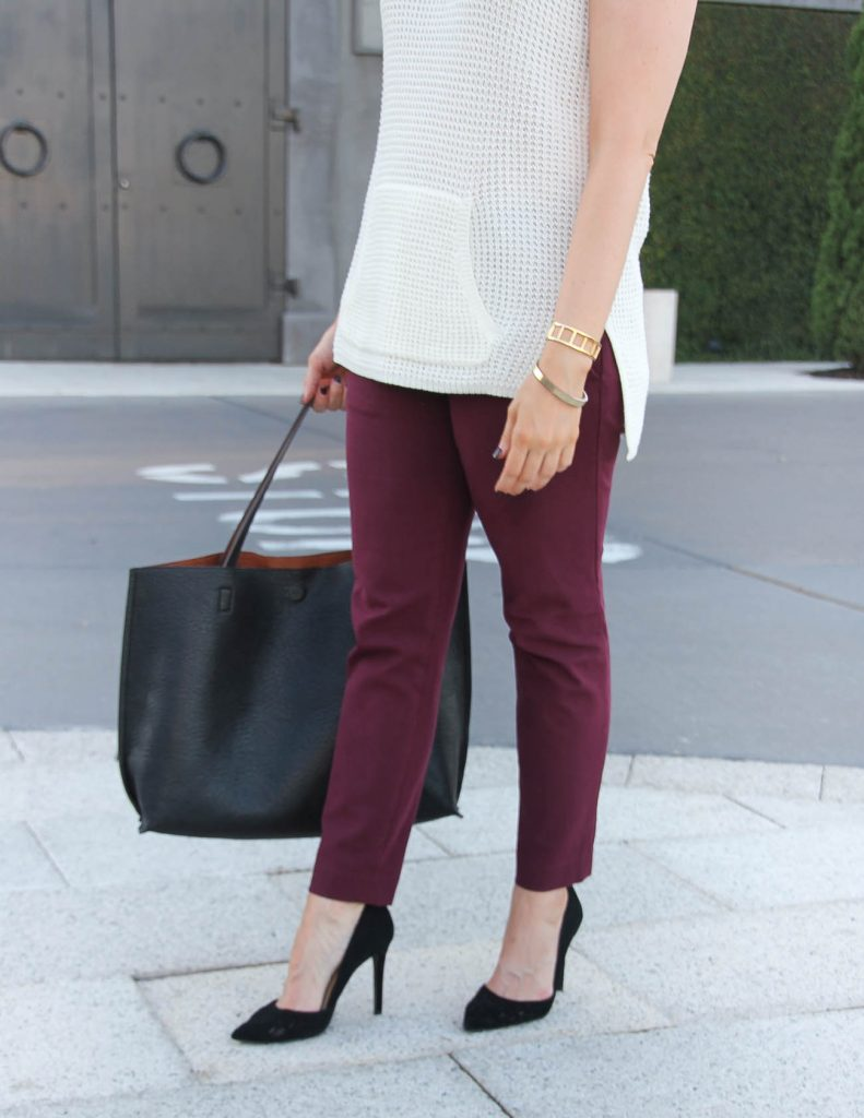 Fall Office Outfit | Burgundy Skinny Work Pants | Black Tote Bag | Lady in Violet | Houston Fashion Blogger
