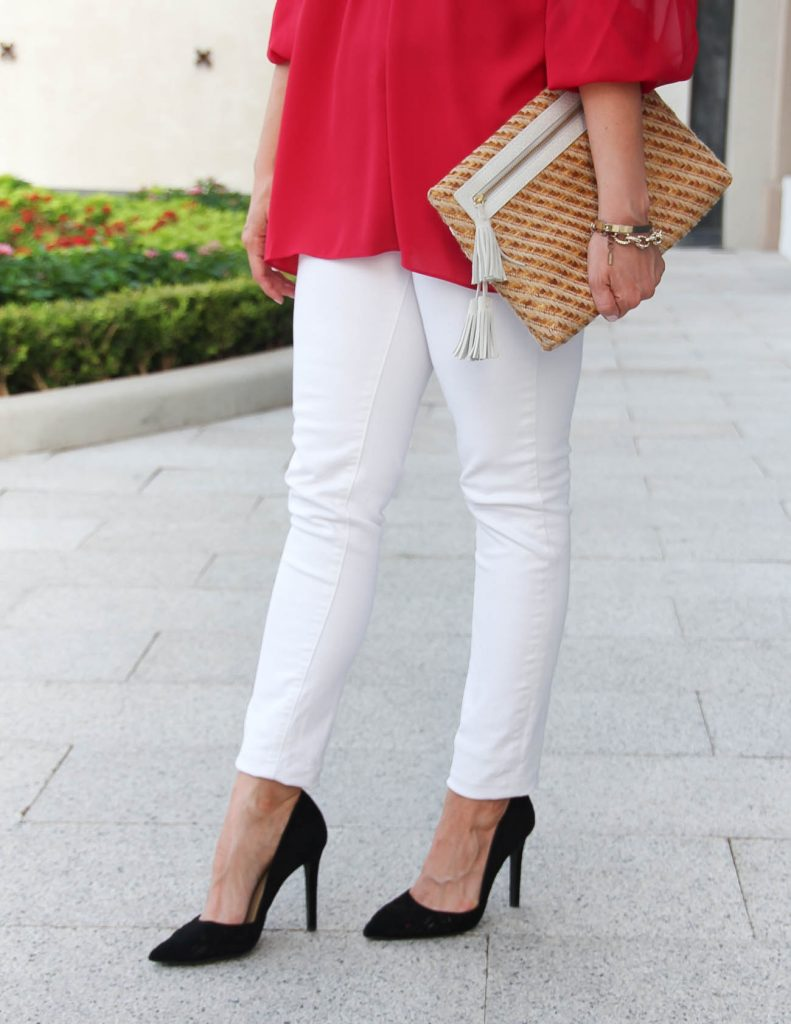 Paige White Jeans | Black d'Orsay Heels | Straw Clutch | Lady in Violet | Houston Fashion Blog