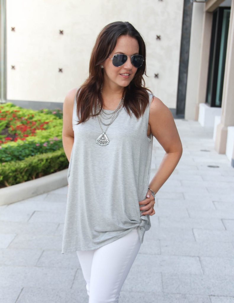 Summer Casual Outfit | Gray Front Knot Top | Metal Statement Necklace | Lady in Violet | Houston Fashion Blogger
