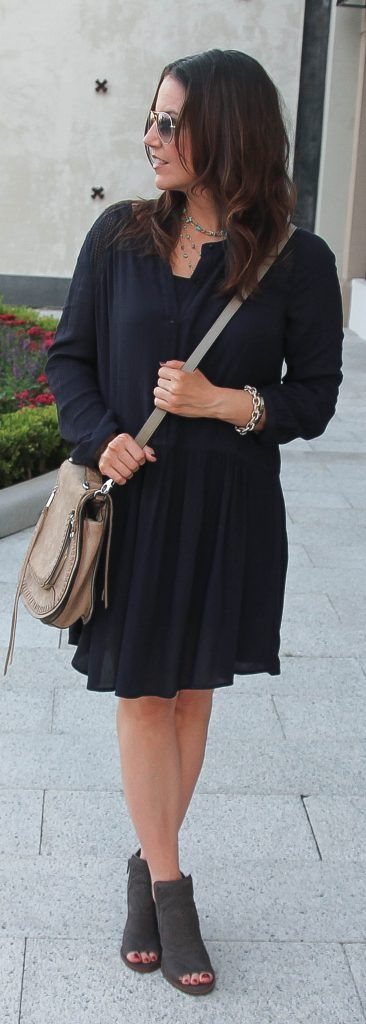 Casual Fall Outfit | Navy Dress | Peep Toe Booties | Lady in Violet | Top Houston Fashion Blogger