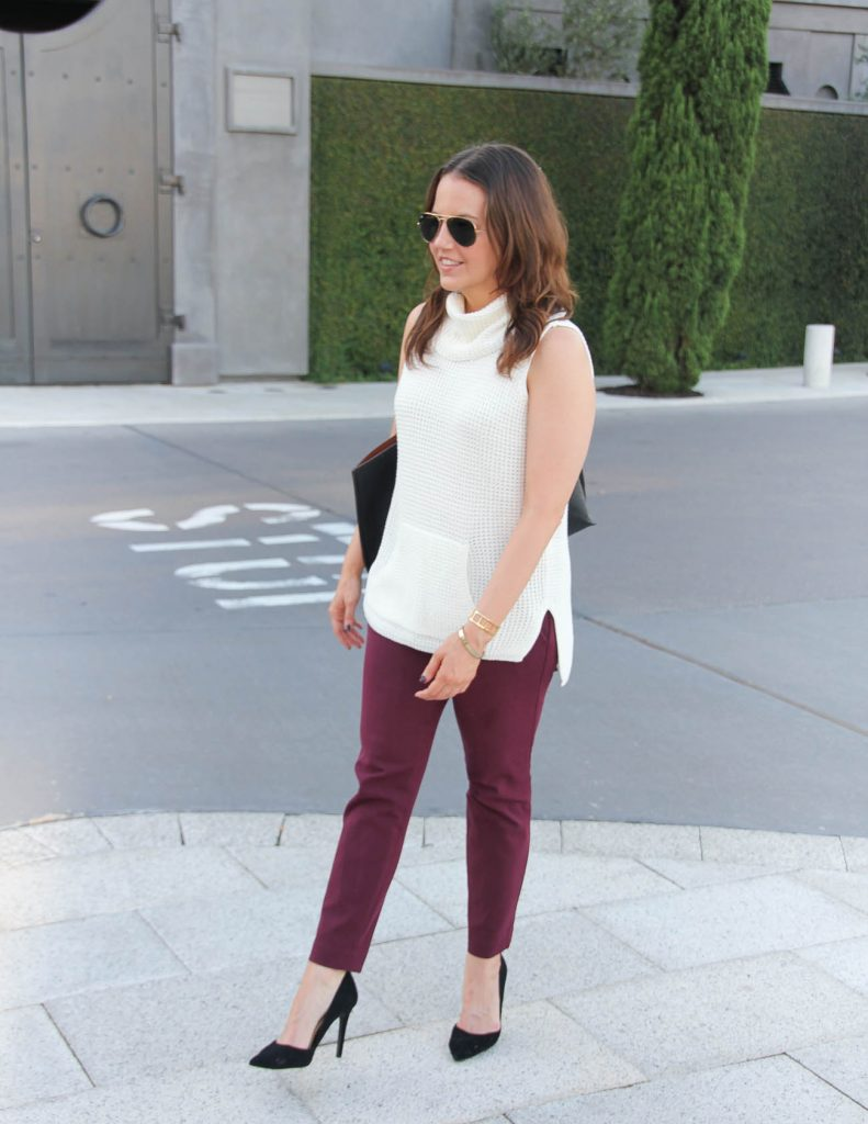 Professional Work Outfit | Sleeveless Sweater | Burgundy Work Pants | Lady in Violet | Houston Style Blogger