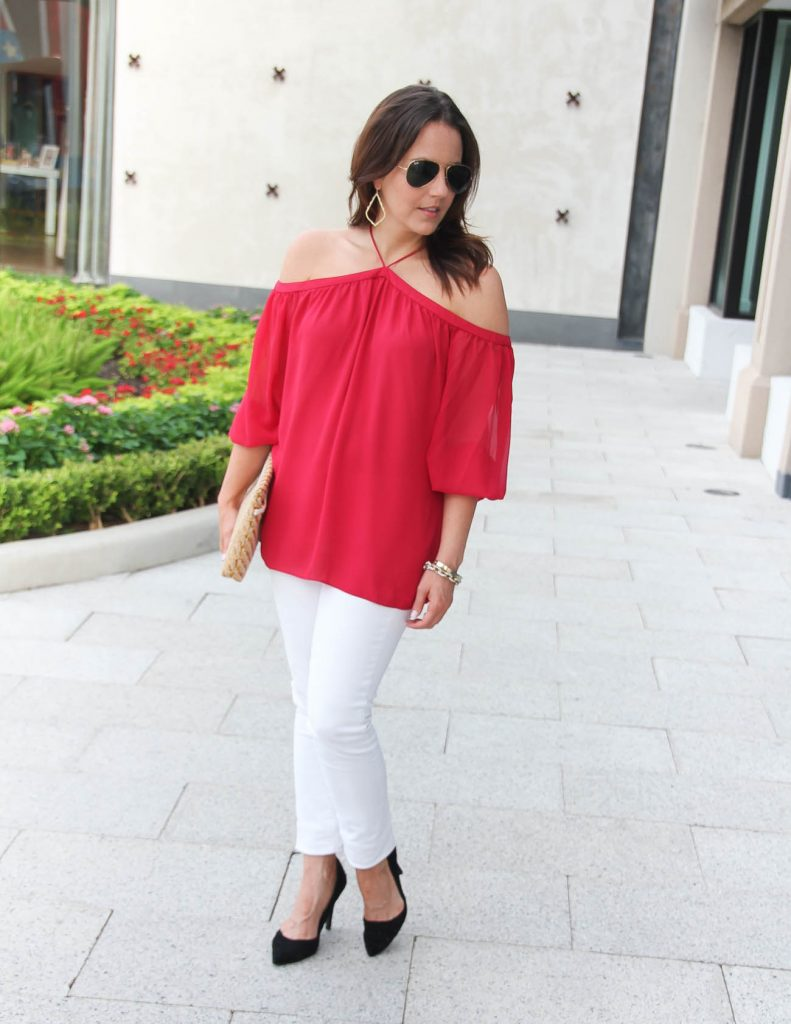 Girls Night Out Outfit | Red Cold Shoulder Top | White Jeans | Lady in Violet | Houston Fashion Blogger