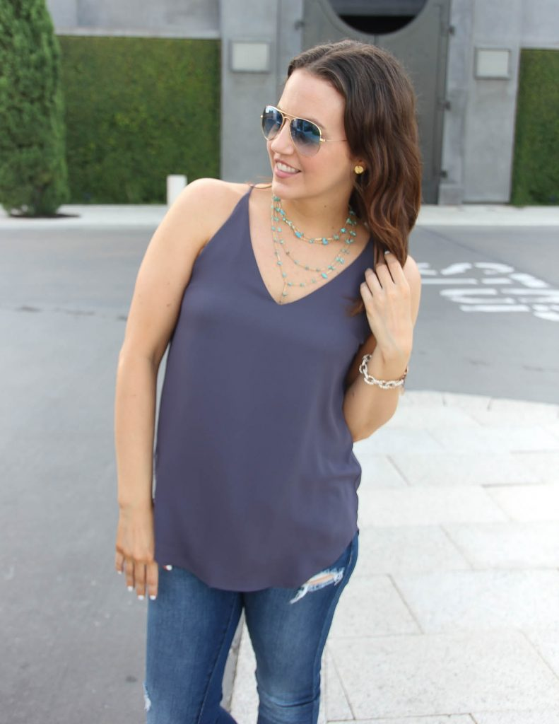 Summer Casual Outfit | Turquoise Necklace | Rayban Blue Gradient Aviators | Lady in Violet | Houston Style Blogger