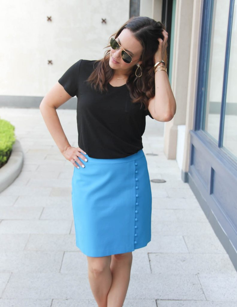 Work Outfit | Button Pencil Skirt | Black Tshirt | Lady in Violet | Houston Fashion Blogger