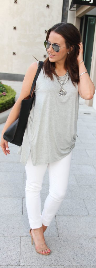 Casual Summer Outfit | Gray Front Knot Tank | White Skinny Jeans | Houston Fashion Blogger