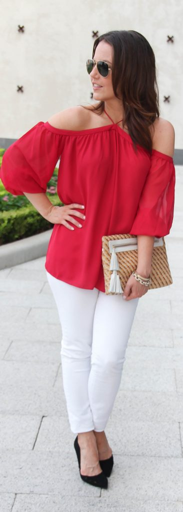 Summer Date Night Outfit | Red Off the Shoulder Top | White Jeans | Lady in Violet | Houston Fashion Blog