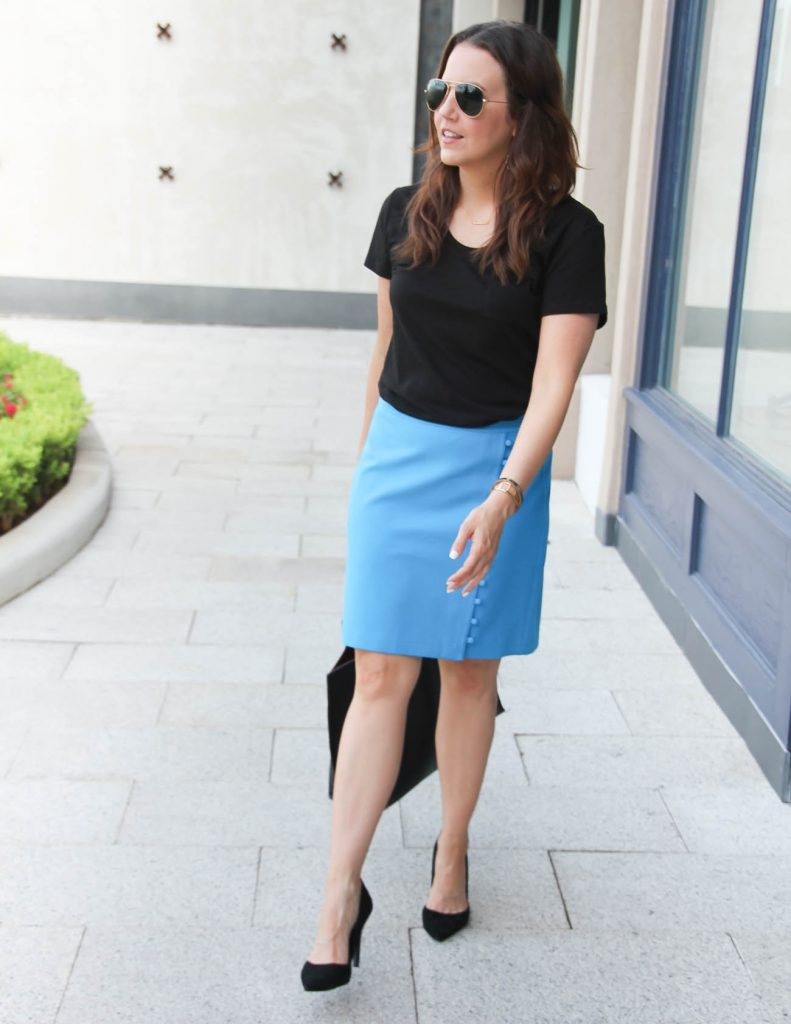 Work Outfit | Tshirt with Pencil skirt | Lady in Violet | Houston Style Blogger
