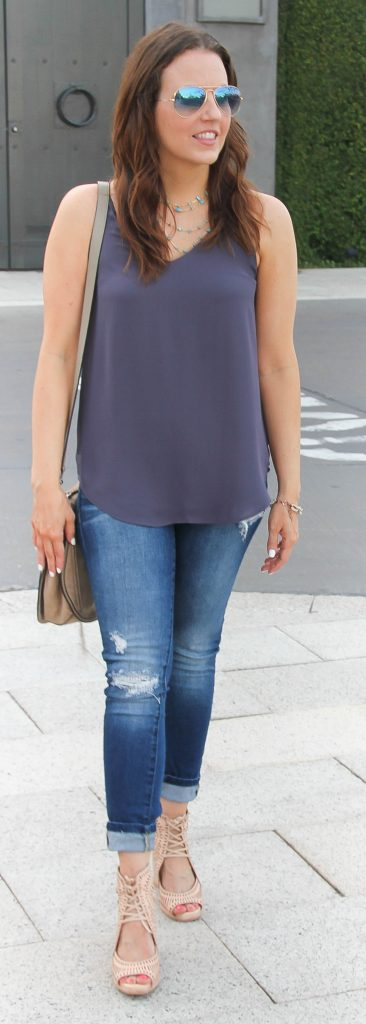 Casual Summer Outfit | Distressed Jeans | Wedge Sandals | Lady in Violet | Houston Fashion Blogger