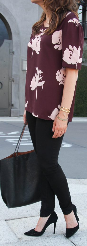 Fall Outfit | Black Skinny Jeans | Burgundy Blouse for Work | Lady in Violet | Houston Fashion Blogger