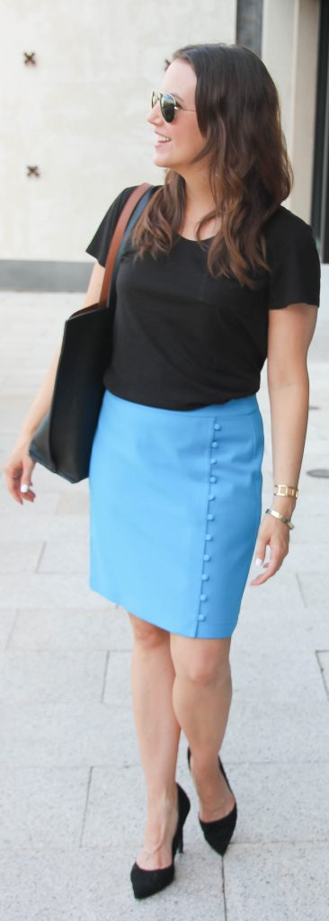 Work Outfit | Black Tshirt | Pencil Skirt | Lady in Violet | Houston Fashion Blogger
