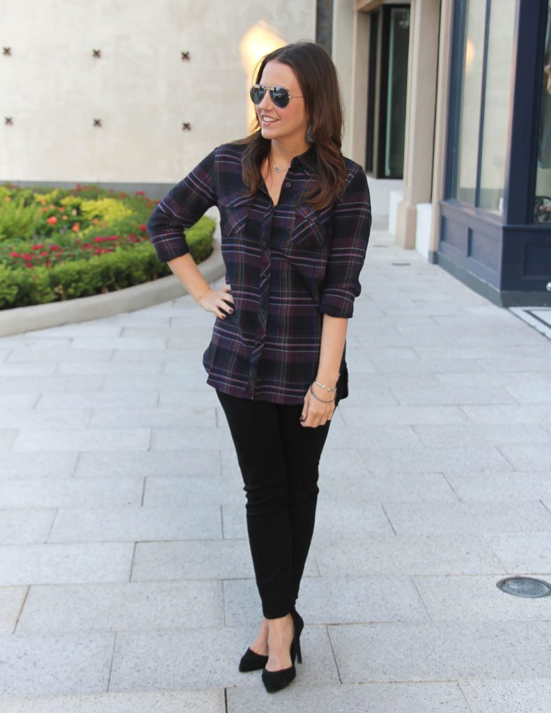 Fall Outfit | Black Plaid | Hudson Skinny Jeans | Lady in Violet | Houston Fashion Blogger