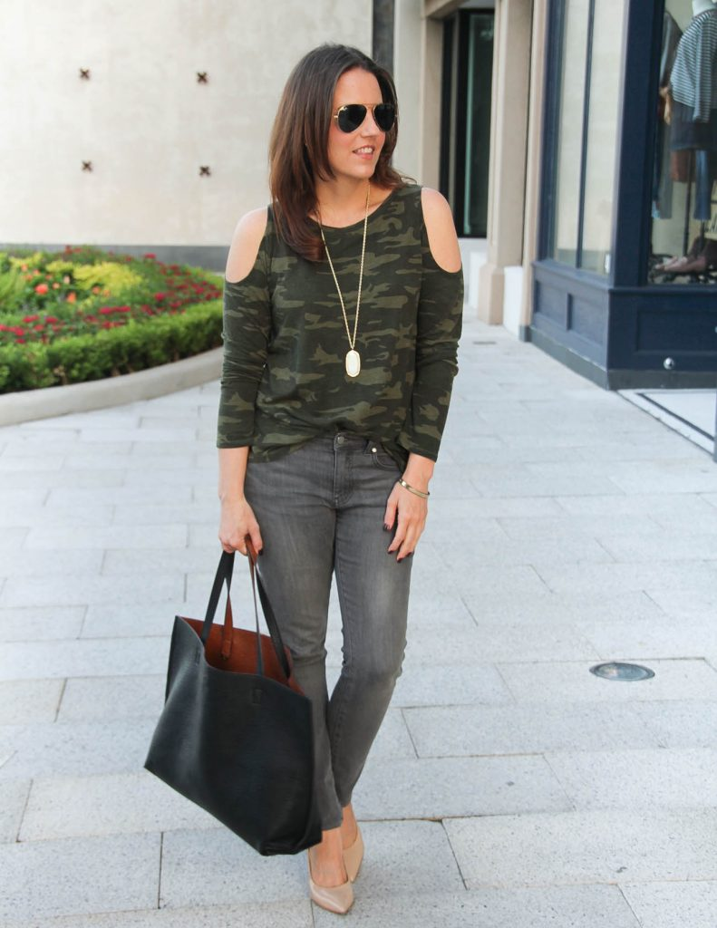 Fall Outfit | Camo Cold Shoulder Shirt | Gray Jeans | Lady in Violet Fashion Blog