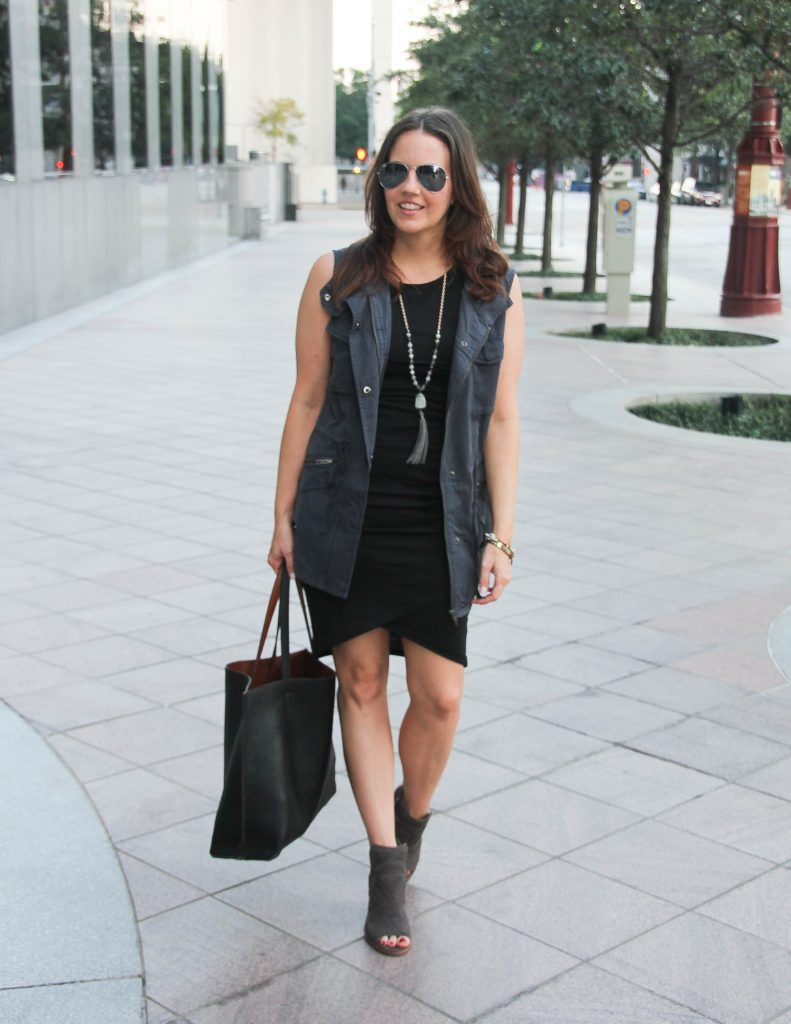 Fall Outfit | Gray Utility Vest | Black Body Con Dress | Lady in Violet Fashion Blog