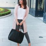 Blush Pink Cardigan + Gray Jeans under $100